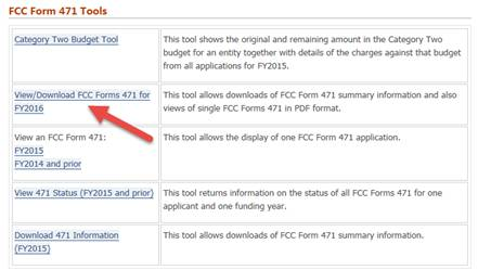 View/Download FCC Forms 471 for FY 2016