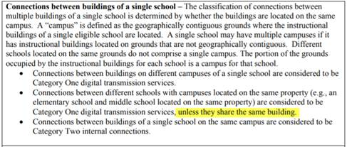 Connections between buildings of a single school