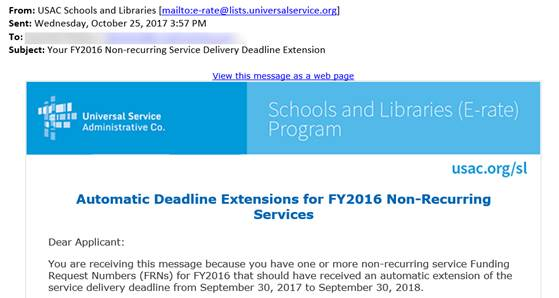 E-rate Automatic Deadline Extensions for FY 2016 Non-Recurring Services