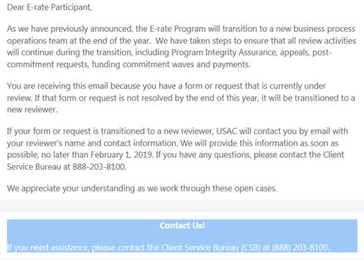 USAC transition letter