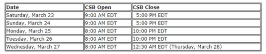 """USAC's Client Service Bureau (""""CSB"""") extended hours"""