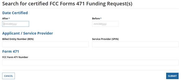 Search for certified FCC Form 471 funding requests