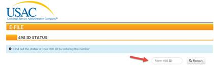 USAC 498 ID Status tool