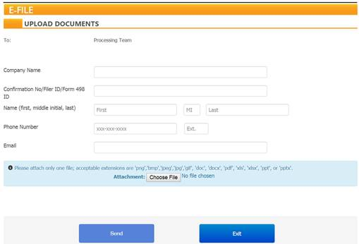 USAC Form 498 upload documents.