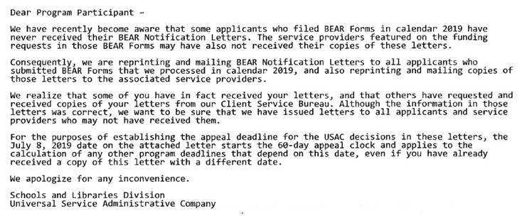 E-rate reissued BEAR Notification Letters