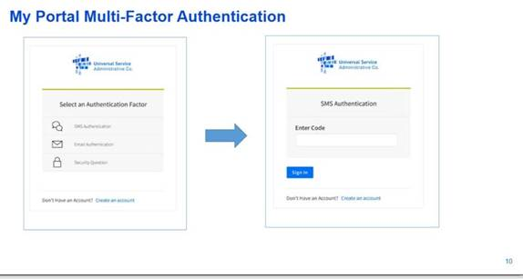 E-rate My Portal Multi-Factor Authentication