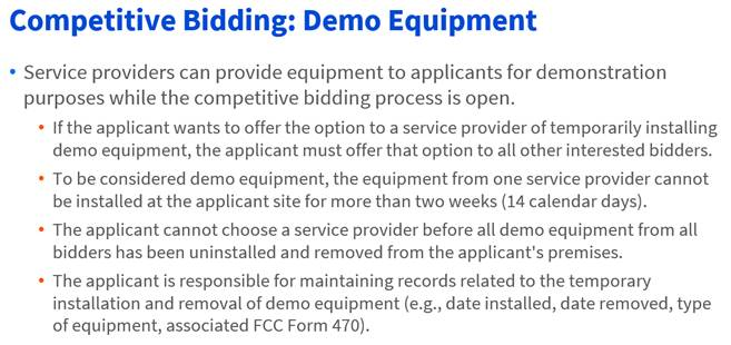 E-rate competiitive bidding - demo equipment