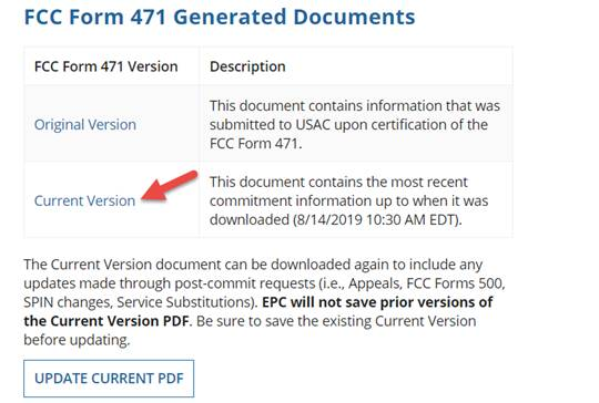FCC Form 471 Generated Documents