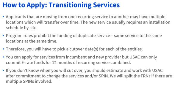 USAC How to Apply: Transitioning Services