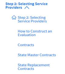 Applicant Process Step 2 - Selecting Service Providers
