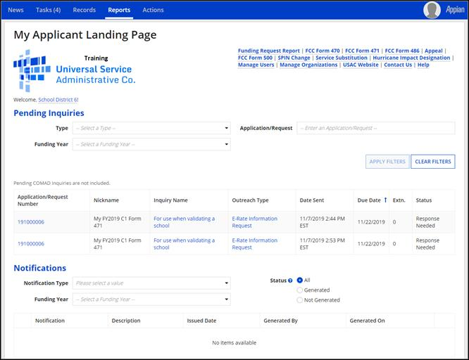 USAC Pending Inquiries grid on applicant EPC Landing Pages