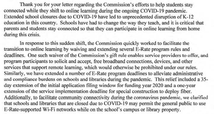 FCC Chairman Pai's Position on E-Rate Support for Remote Learning part 1