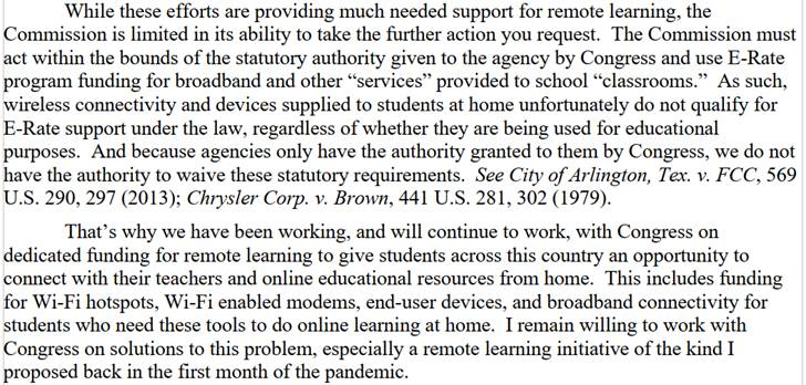 FCC Chairman Pai's Position on E-Rate Support for Remote Learning part 4