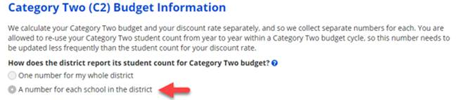 E-rate category 2 budget information
