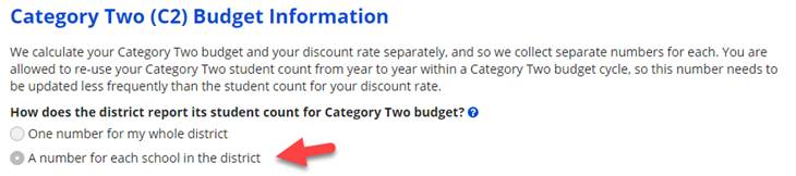 E-rate Category Two (C2) budget information