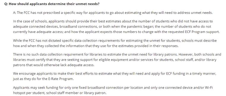 Emergency Connectivity Fund unmnet needs FAQ