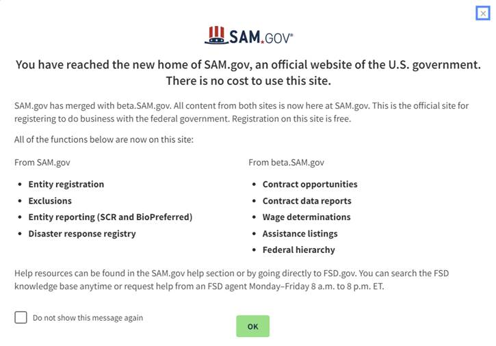 SAM.gov announcement of the recent update