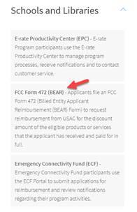 USAC One Portal initial post-login screen FCC Form 472 BEAR option