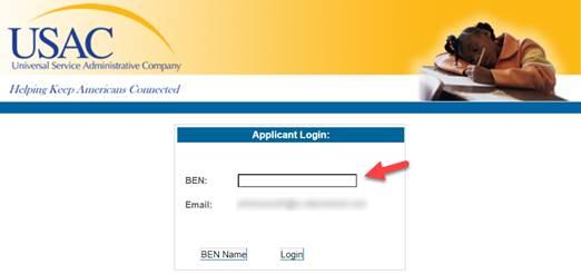 One Portal's Billed Entity Applicant login screen