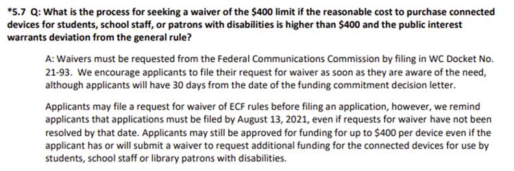 ECF FAQs added by the FCC