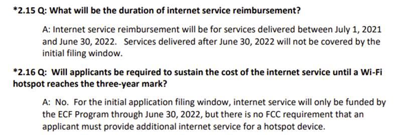 FCC FAQ Updates - duration of internet service reimbursement