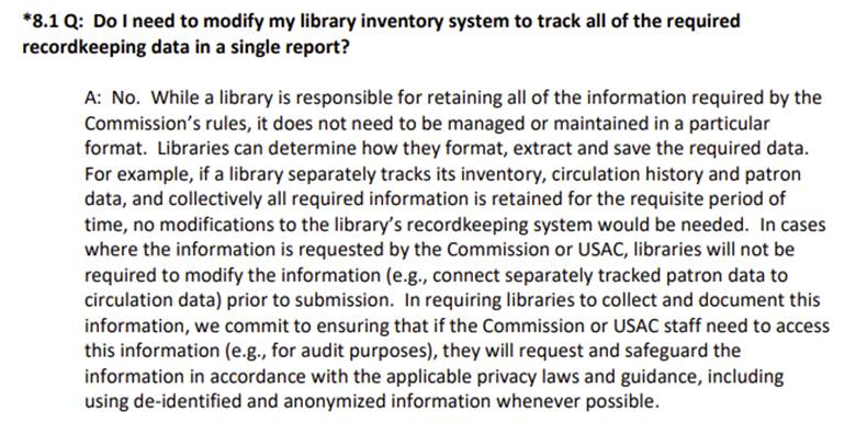 FCC FAQ Updates - do I need to modify my library invenory system to track all of the required recordkeeping data in a single report