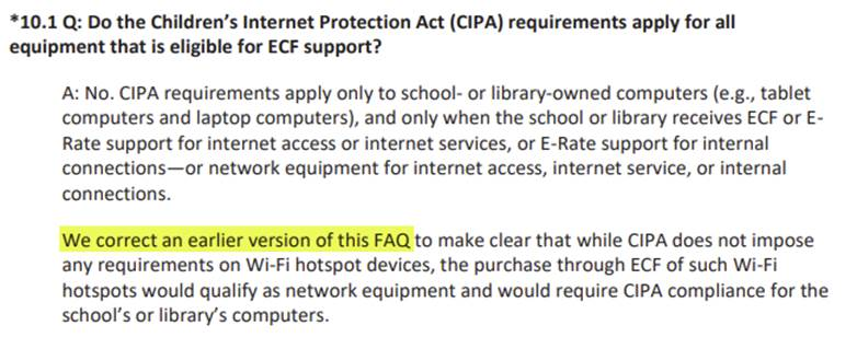 FCC FAQ Updates - do the CIPA requirements apply for all equipment that is eligible for ECF support