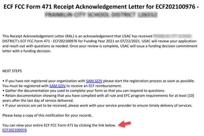 ECF FCC Form 471 Receipt Acknowledgement Letter