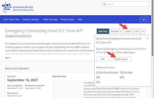 ECF Form 471 dataset homepage