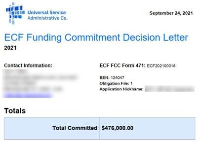 ECF Funding Commitment Decision Letter