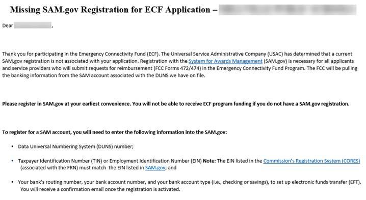 Missing SAM.gov Registrations for ECF Applications