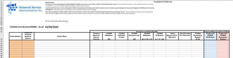 E-rate Category 2 Budget Excel spreadsheet